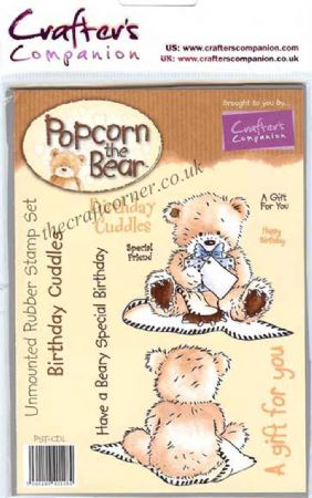 Birthday Cuddles Popcorn Bear Unmounted Rubber Stamps